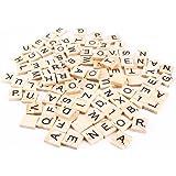 100Scrabble-Buchstabensteine aus Holz, Buchstaben und Zahlen, kreatives Gestalten