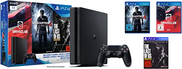 PlayStation 4 - Konsole (1TB, schwarz,slim) inkl. Uncharted 4 + Driveclub + The Last of Us