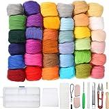Jeteven® 36 Farben Filzwolle Basteln Quennslandwolle Schafwolle DIY mit Werkzeug Set (10 Arten = 39er), geeignet für Nassfilzen und Trockenfilzen