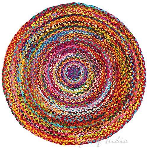 Eyes of India - 4, 5 FT rund bunt gewebt Chindi geflochten Bereich dekorativ Fleckerlteppich Indische Böhmisch Boho - Multi, 5 ft. (152 cm) (Jaipur Rugs)