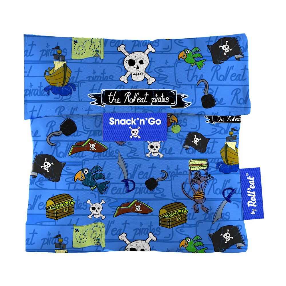 Roll'eat Snack'n'Go-KIDS Piratas azul – Porta Snacks reutilizable – porta meriendas – bolsa merienda- BPA Free