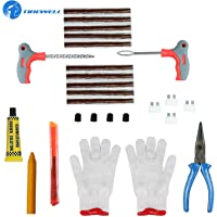 TIREWELL TW-5006 10 in 1 Universal Tubeless Tyre Puncture Kit Emergency Flat Tire Puncher Repair Patch Tool Bag for Car…