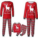 Famiglia Pigiami Natale Indumenti da Notte per Uomo Donne Neonato Bambino,2PC Cotone Cervo Stampato Camicie Manica Lunga + Pa