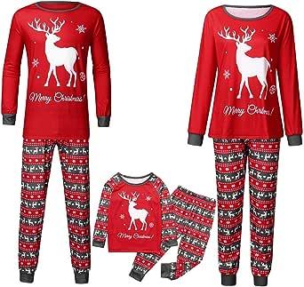 Famiglia Pigiami Natale Indumenti da Notte per Uomo Donne Neonato Bambino,2PC Cotone Cervo Stampato Camicie Manica Lunga + Pantaloni Set Costume di Cervo Natale Invernale Primavera