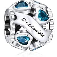 NINGAN Charmes de Naissance pour Bracelets - Charms de Perles ajourées en Argent Sterling 925, charmes de Coeur d'amour…