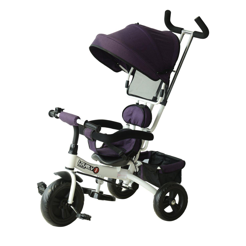 HOMCOM Triciclo para Niños con Capota Desmontable y Plegable para Mayores de 18 Meses Incluye Barra Telescópica para Los Padres Certificado EN71-1-2-3 Color Morado y Blanco 92x51x110cm