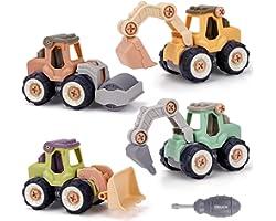 Celecstan DIY Construction Vehicles Diggers Set Take Apart Car Kids Toys 4 PCS Engineering Trucks Educational STEM Building G