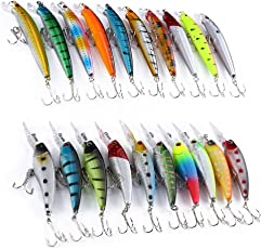 Zorbes 20 PCS Lure Hard Plastic Bait Minnow Pencil Fishing Tackle with 2 Hooks