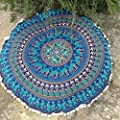 32'' Blue Color Elephant Mandala Pouf Cover Throw Round Mandala Tapestry Pouf Cover Handmade Cotton Pillow Case Vintage Ottoman Floor Round Cushion Cover Handmade Footstool Chair Cover With Pom Pom
