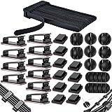 MiuCo 50 stuks kabelbinders klittenband / kabel klittenband + 40 stuks kabelklemmen / kabelclips + 10 stuks kabelhouders zelf