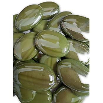STONED/® 20 Green Flat Glass Pebbles//Nuggets//Stones//Beads Pebbles//Home Garden//Display//Art Craft