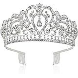 Makone Tiara Corona de Cristal con Diamantes de imitación Peine para Corona Nupcial Proms de Boda desfiles Princesas Fiesta d
