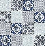 Carta da parati piastrelle in vinilico lavabile cucina bagno bianco azzurro blu con decori MA 7801 Materials