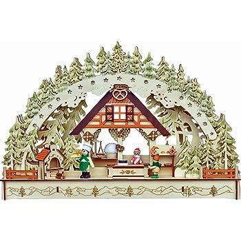 45 cm Breit Weihnachten Advent Geschenk Dekoration 94311 LED Schwibbogen Lichterbogen Leuchter Haus und Marktstand aus Holz Oval ca