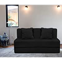 Aart Store Folding 3 Seater Sofa Cum Bed - Perfect for Guests - Moshi Fabric Washable Cover with Free Cushions - | 6' X 6' Feet Black