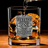 English Pewter Company Vintage Years 1981 40th Birthday or Anniversary Whisky Glass Tumbler - Unique Gift Idea for Men [VIN00