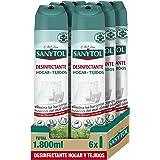 Sanytol – Desinfectante Hogar y Tejidos, Elimina Bacterias, Virus y Hongos Sin Lejía, Perfume Herbal - Pack de 6 x 300 ML = 1