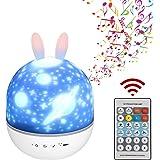 Bébé Veilleuse Projecteur, Veilleuse Ciel Etoile LED Enfant Lampe Musicale et Lumineuse 360°Rotation, Auto Shut-Off, 8 Chanso