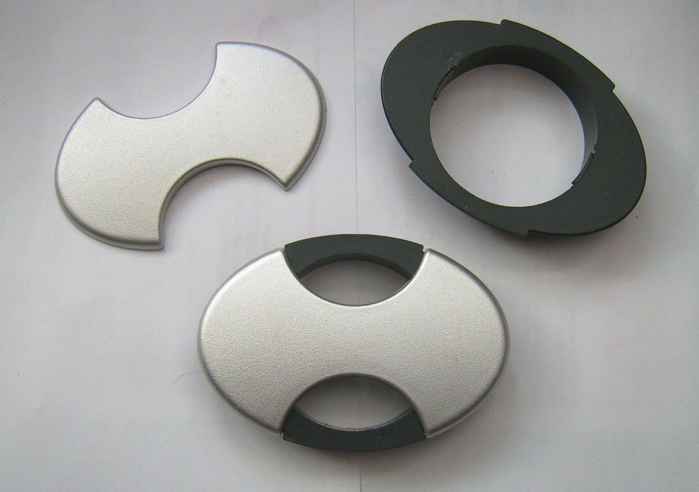 2x oval cable tidy 80mm desk wire worktop grommet black u0026 silver double outlet internal dust 2x oval grommet 80mm amazoncouk
