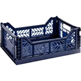 HAY Colour Crate M, 507674, transportbox, blauw, marine/polypropyleen/opvouwbaar, blauw