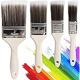 Set van 4 gereedschap penselenset, schilderkwastenset, hoogwaardige platte kwast voor nauwkeurig schilderwerk, lazuurkwast vo