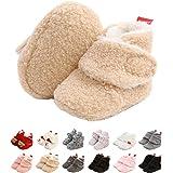 Baby Jongens Meisjes Warme Booties, Winter Wit Schattig Zacht Katoen Unisex Non-Skid Babyslofjes Kerst Eerste Verjaardagscade