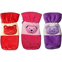 0Month+ KRIDAY Baby's Velvet Soft Cartoon Feeding Bottle Cover (Multicolour) -Set of 3