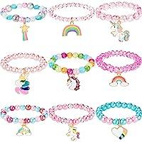 9 Braccialetti di Unicorno Colorati Bracciale di Unicorno da Ragazze Bracciale di Unicorno di Perline Arcobaleno per…