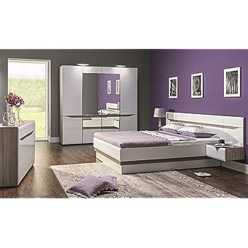 Schlafzimmer Komplett LINN Weiß Hochglanz Set B Schrank 4 Tür Soft Close  Bett 180x200