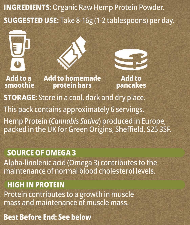 Green Origins Organic Hemp Protein Powder, Raw 100g