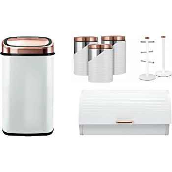 599191c86510 Set of 7 Tower ROSE GOLD & WHITE Linear Stylish Kitchen Accessories ...