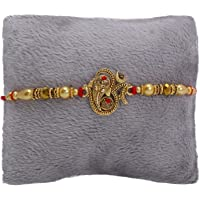 Riddhika Ventures Glorious Gold Plated Om and Ganesh Diamond Ring Rakhi with Roli Chawal and Greeting Card (K15)