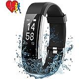 Mpow Fitness Armband mit Pulsmesser, IP67 Fitness Tracker Aktivitätstracker Herzfrequenzmonitor Schrittzähler Uhr mit 14 Trainingsmodi Vibrationsalarm Anruf SMS Beachten für iPhone Android Handy