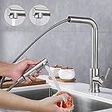 Vattenkran kök med dusch, köksarmatur utdragbar 360° vridbar blandare, kökskran rostfritt stål borstad, enhands-diskbänksarma