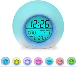 Kacool Children Alarm Clock - Digital Led Clock With 7 Color Switch And 8 Ringtones ,Clear Backlit Screen & Touch Control