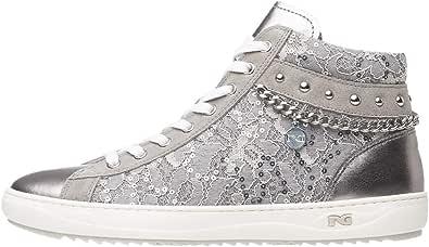Nero Giardini P805082D Sneakers Montantes Femme en Cuir, Cuir Velours Et Toile