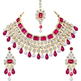 Peora Crystal Choker Necklace with Maang Tikka Earrings Indian Traditional Bridal Wedding Jewellery Set for Women