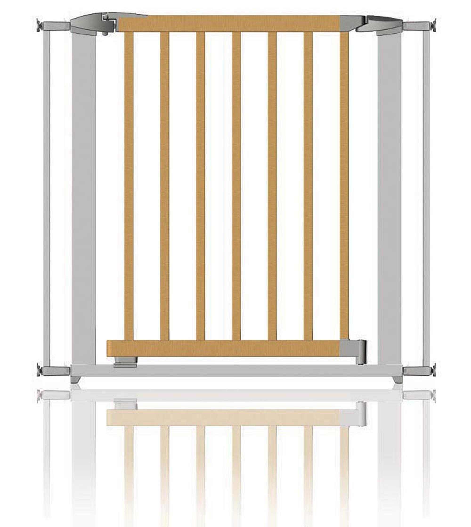 Clippasafe Extendable Swing Shut Gate (Metal and Wood) Clippasafe Swing Shut Mechanism Pressure Mounted Fits from 72.5cm to 95cm 1