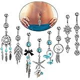 8pcs piercing all'ombelico blu con set pendente lungo per donne ragazze, anello in argento 14G ciondola l'ombelico piercing,