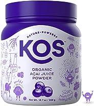 KOS Organic Açaí Juice Powder - Natural Antioxidant Superfood Açaí Juice Powder - Polyphenol Abundant, Anti-Aging, USDA Orga