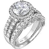 Wuziwen 4Ct خاتم الخطوبة للنساء الفضة الاسترليني مكعب زركونيا الفرقة الزفاف مجموعة الزفاف
