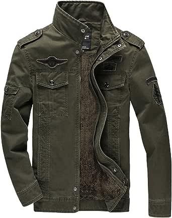 KEFITEVD Men's Winter Fleece Jacket Warm Cargo Stand Collar Military Thicken Cotton Jackets Coat