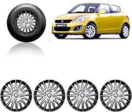 Auto Pearl CMRY_SB_14InchWC_Swift_New 14-inch Silver and Black Wheel Cover Cap for Maruti Suzuki Swift (Set of 4)