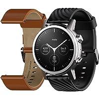 Motorola Moto 360 3ème génération Smartwatch – Boîtier en acier inoxydable avec bandes de 20 mm, batterie toute la…