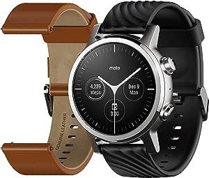 Motorola Moto 360 3a Generazione Smartwatch – Cassa in Acciaio Inox con Cinturino da 20 mm, Batteria per tutto il giorno & WearOs, Grey