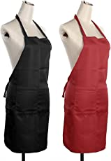 Exporthub Cotton Waterproof Kitchen Apron (20x30 Inches, Black and Red, EHSPR590) - Set of 2