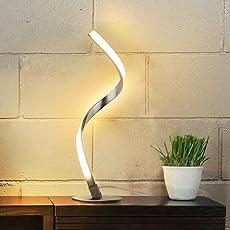 Albrillo lampada da tavolo a spirale, moderna lampada da letto a LED, per lo studio, camera da soggiorno, minimalista salvaspazio, bianco caldo 3000K 480LM