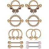 WillTen 6 Pares 14G Piercing Pezon Acero Inoxidable Caballo CZ Diamant Piercing Lengua Piercing Joyería para Mujer Hombre 14M