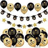 """YiYa 41 piezas de decoración de graduación - 24 piezas globos de graduación negros y dorados y pancarta de """"GRADUATE"""" para la"""