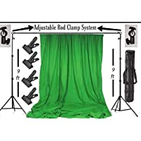 Backdrop Stand Setup Photo Studio Green Backdrop Chroma Key Screen Background for Indoor-Outdoor, Commercial, YouTube Photography (9 x9ft. -2)
